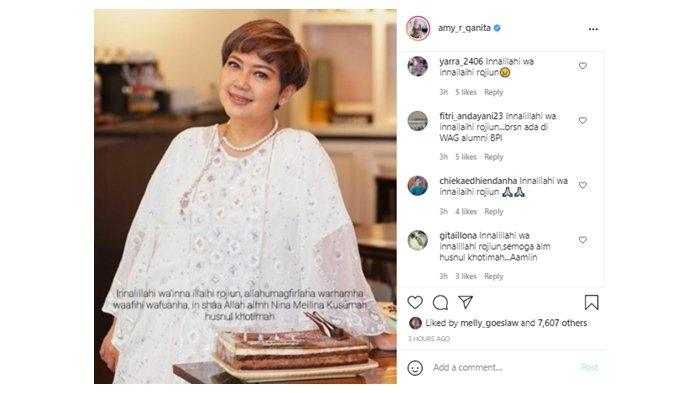 Mama Amy Qanita bagikan kabar duka meninggalnya sosok Nina Meilina Kusumah, Senin (28/6/2021)