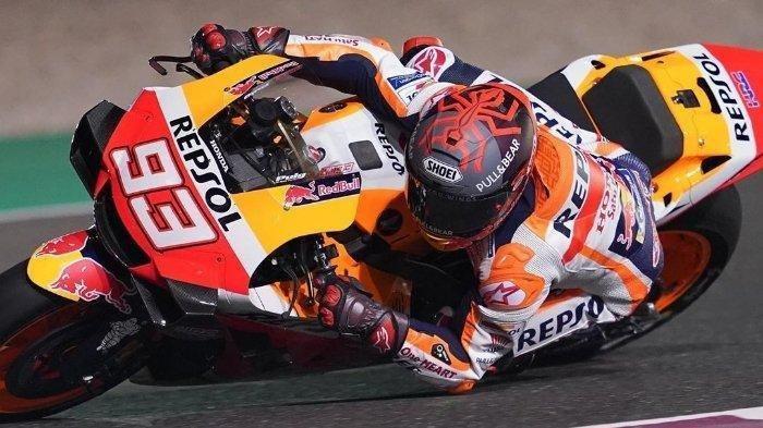 Marc Marquez pada tes pramusim MotoGP 2020 di Sirkuit Losail, Qatar.