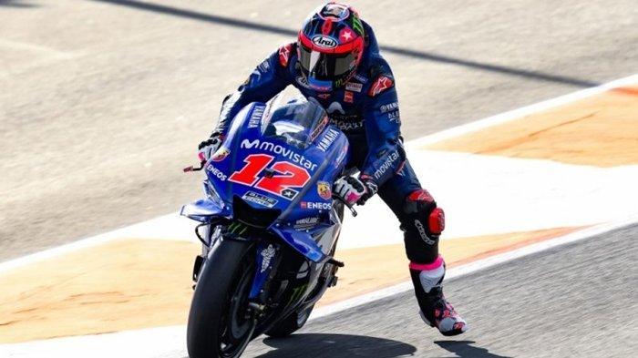 Maverick Vinales menurunkan kaki sebelum tikungan. Rossi Leg Wave