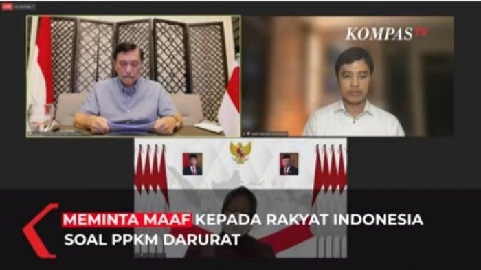 Menko Luhut Binsar Pandjaitan minta maaf kepada seluruh rakyat Indonesia terkait PPKM.