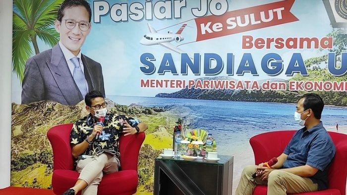 Menparekraf RI, Sandiaga S. Uno saat berkunjung ke Tribun Manado, Jumat (05/03/2021).