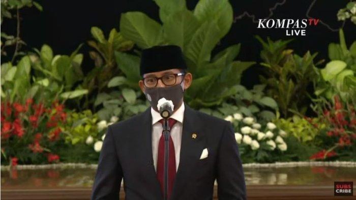 Menparekraf Sandiaga Uno memberikan pernyataan seusai prosesi pelantikan, di Jakarta, Rabu (23/12/2020).