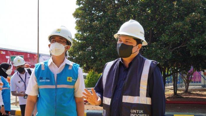 Menteri BUMN Erick Thohir saat meninjau langsung fasilitas produksi oksigen di PLTGU Muara Karang, pada Kamis (12/08/2021) siang.