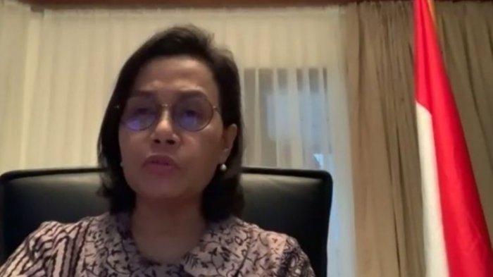 Menteri Keuangan Sri Mulyani Indrawati ketika memberikan keterangan kepada media melalui video conference di Jakarta, Selasa (24/3/2020)