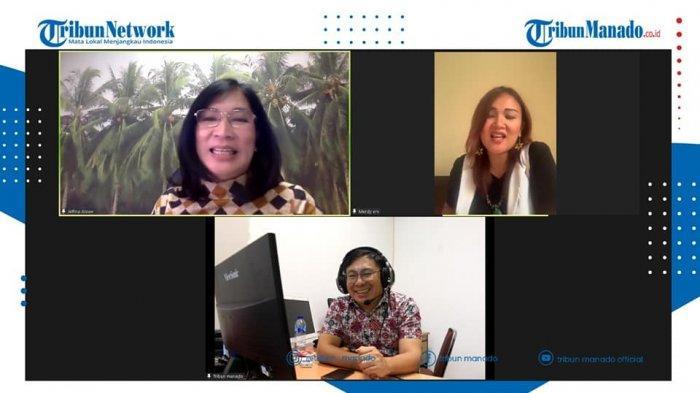 TRIBUN BAKU DAPA - Direktur Eksekutif ICC, Ir Jelfina C Alouw, M.Sc, PhD dan Merdy M Rumintjap, MSi, CEO IGW Indonesia di Tribun Baku Dapa, Jumat (11/06/2021), yang dipandu Aswin Lumintang, Jurnalis Tribun Manado.