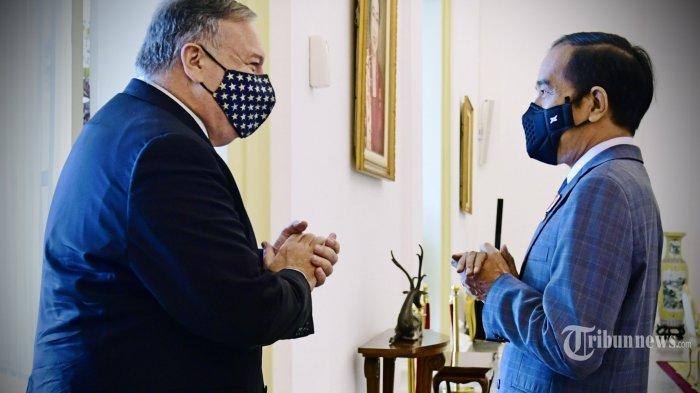 Presiden Joko Widodo (kanan) menerima kunjungan Menteri Luar Negeri Amerika Serikat (Menlu AS), Mike Pompeo di Istana Kepresidenan Bogor, Kota Bogor, Jawa Barat, Kamis (29/10/2020). Tribunnews/HO/BPMI/Muchlis Jr