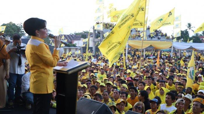 Minsel Jadi Lautan Kuning, Tetty Paruntu Gaungkan Kemenangan Golkar Sulut