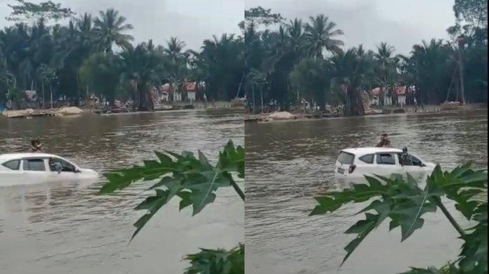 Kecelakaan Tadi Pagi, Mobil Daihatsu Sigra Terjun ke Sungai, 5 Penumpang Selamat, 2 Dalam Pencarian