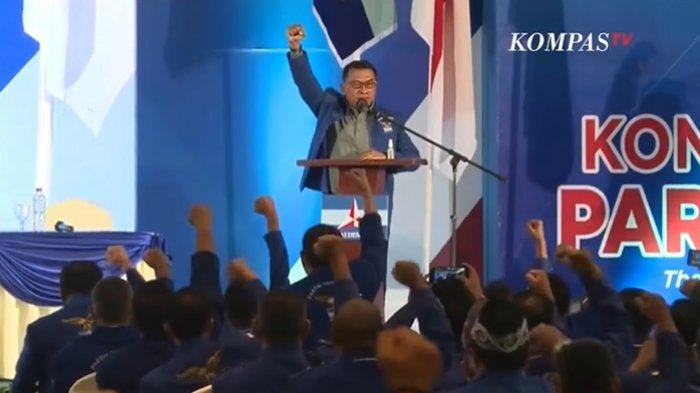 Moeldoko berpidato perdana sebagai Ketua Umum Partai Demokrat versi KLB di Deli Serdang (5/3).