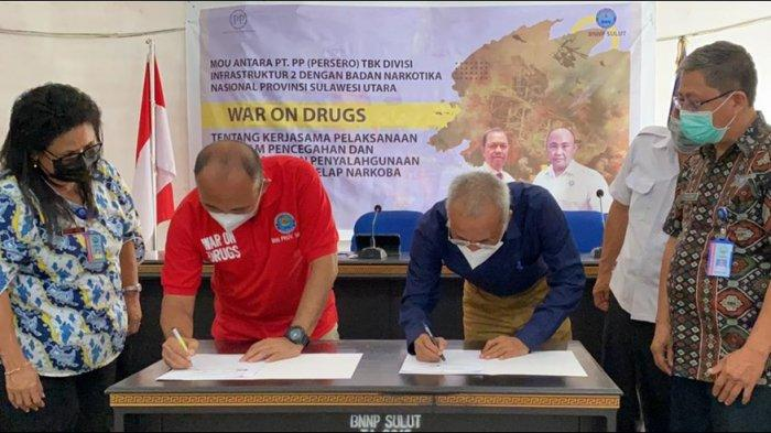 MoU Dengan BNNP Sulut, PT PP Jadi Perusahaan Pelopor Bersih Narkoba