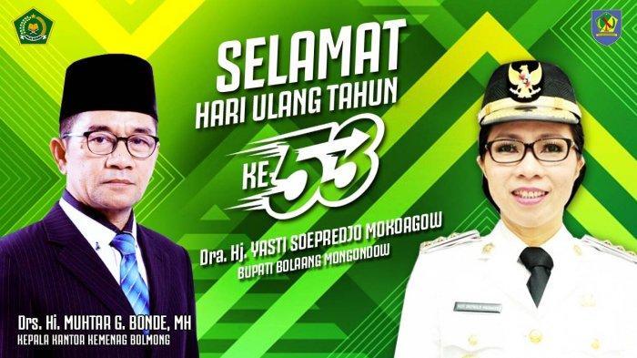 Kepala Kemenag Bolmong Ucapkan Selamat HUT untuk Bupati Yasti Soepredjo Mokoagow