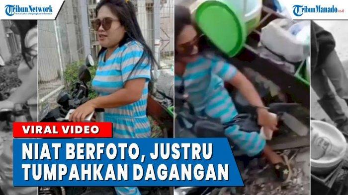 VIDEO Ingin Berfoto, Emak-emak Ini Malah Tumpahkan Jualan Cendol