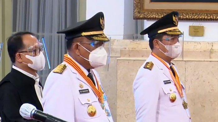 Gubernur Sulut, Olly Dondokambey dan Wagub Steven Kandouw (ODSK) saat dilantik di Istana Negara, Jakarta, Senin (15/2/2021)