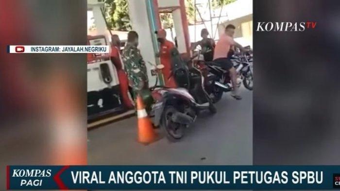 DETIK-detik Oknum Anggota TNI Pukul Kepala Petugas SPBU, Dandim Turun Tangan dan Damaikan