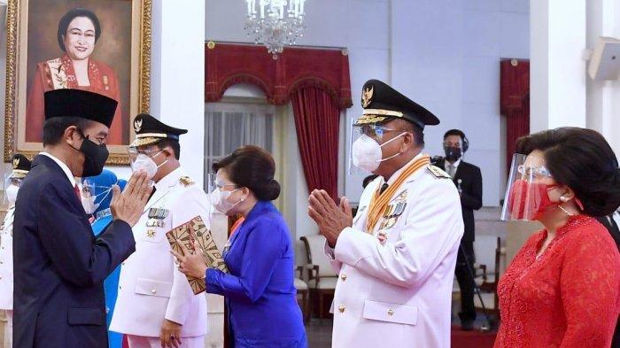 Olly Dondokambey dan istrinya di Istana Negara, Jakarta, Senin (15/2/2021)