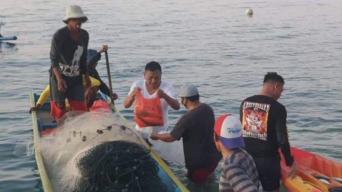 Olly membeli sendiri ikan dari nelayan di tepi pantai, Selasa (25/5/2021).