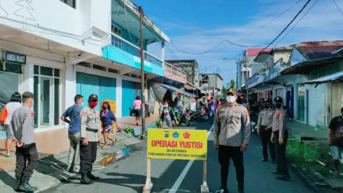 Polsek Tagulandang Gencarkan Operasi Yustisi, Pelanggar Prokes Disanksi Bersihkan Lingkungan