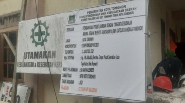Toilet Senilai Rp 149 Juta di SMP Gonzaga Tomohon, Dibuat Empat Kamar, 2 Kloset Jongkok dan 2 Duduk