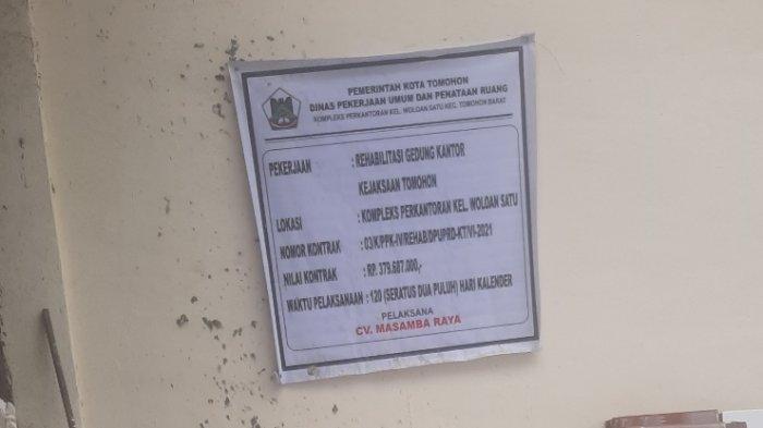 Dinas PUPR Tomohon Pastikan Proyek Rehab Gedung Kejari Berbandrol Rp 379 Juta Hampir Rampung