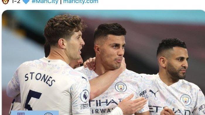 Para pemain Manchester City merayakan gol Rodrigo ke gawang Aston Villa pada laga di Stadion Villa Park, Rabu (21/4/2021) waktu setempat.