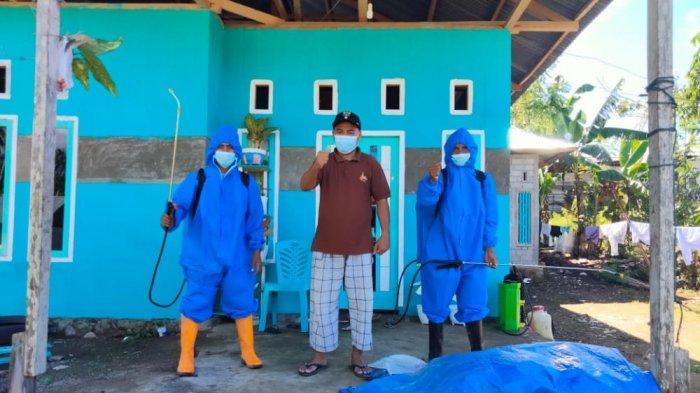 Dukung PPKM Level II Bolsel, Desa Nunuka Raya Lakukan Penyemprotan Disinfektan