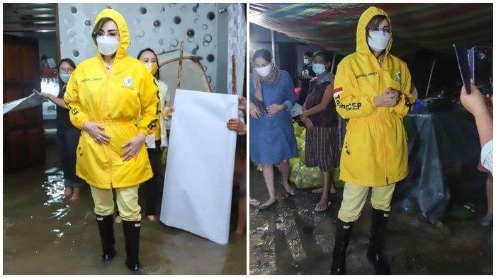 Parpol Peduli Korban Bencana, Si Cantik Tetty Paruntu Rela Terobos Banjir