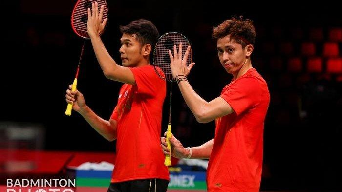 Pasangan Ganda Putra Indonesia Fajar Alfian/M Rian Ardianto <a href='https://manado.tribunnews.com/tag/piala-thomas-2020' title='PialaThomas2020'>PialaThomas2020</a>.