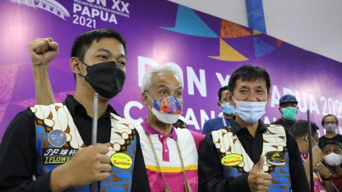 Ganjar Pranowo Spontan Berdiri dan Tepuk Tangan Saat Atlet Biliar Jateng Raih Emas PON Papua