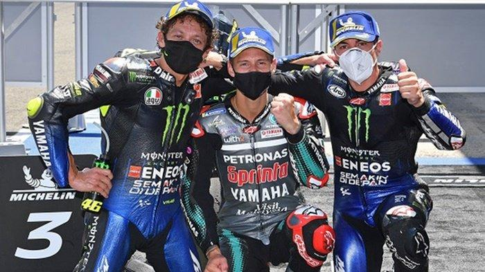 Pebalap Monster Energy Yamaha, Valentino Rossi bersama Fabio Quartararo dan Maverick Vinales