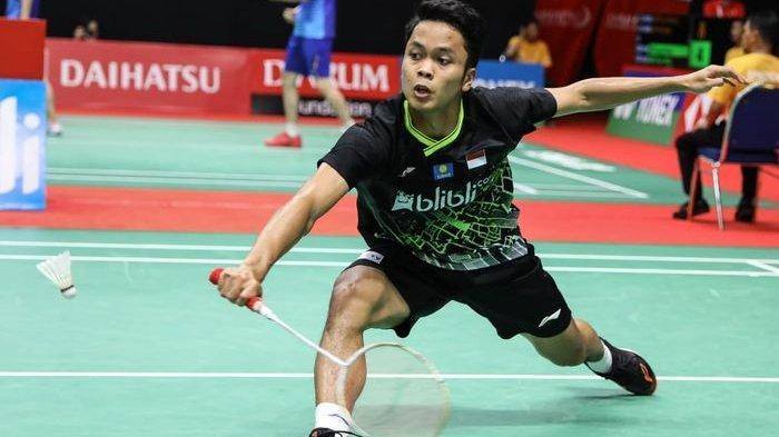 Pebulu tangkis tunggal putra Indonesia, Anthony Sinisuka Ginting, pada perempat final Indonesia Masters 2020.