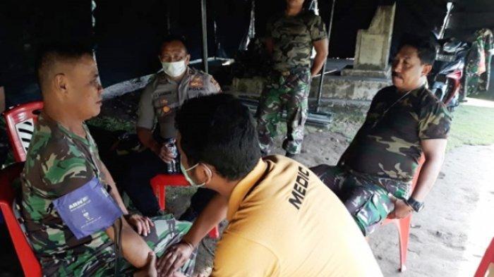 Tim kesehatan Polres Sangihe Periksa Petugas Pengamanan Penanggulangan Gunung Karangetang