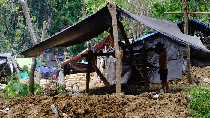 local miners under tents