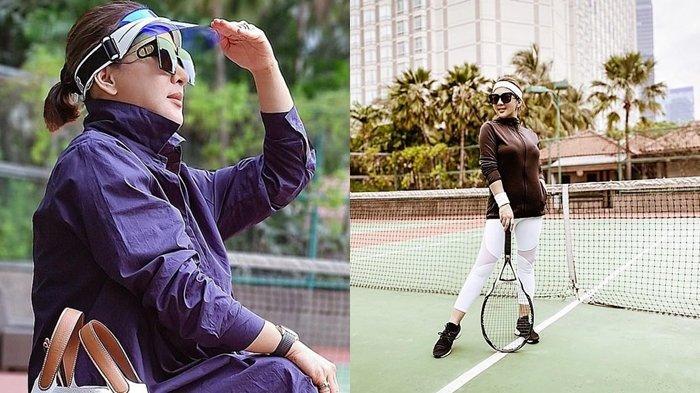 Penampilan Syahrini saat main tenis