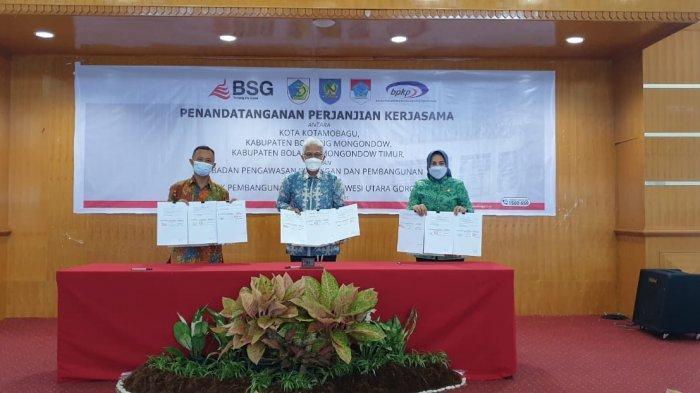 Wali Kota Kotamobagu Tatong Bara Tandatangani MoU dan PKS Dengan BPKP dan Bank SulutGo