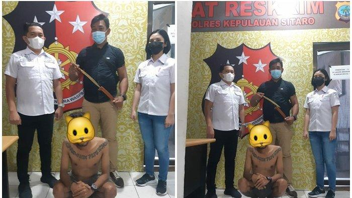 Bawa Sajam, Oknum Tukang Pangkas Rambut Diciduk Satreskrim Polres Sitaro