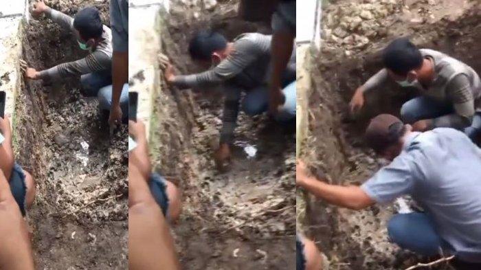 Penemuan mayat mayat wanita hamil 7 bulan terkubur di depan rumah di desa Karya Indah, Riau.