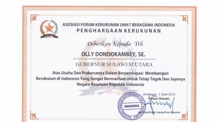 Penghargaan Kerukunan dari Asosiasi Forum Kerukunan Umat Beragama (FKUB) Indonesia.