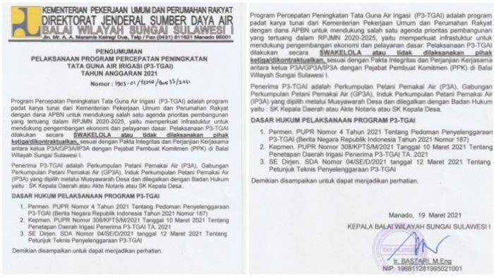 Program Percepatan Peningkatan Tata Guna Air Irigasi Balai Wilayah Sungai Sulawesi I