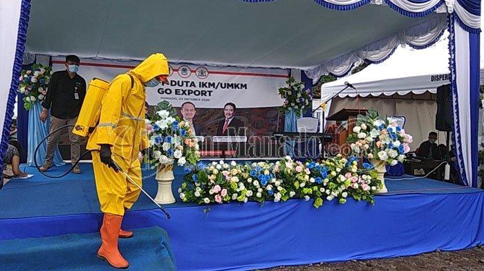 Utamakan Protokol Kesehatan, Sebelum Kegiatan IKM/UMKM di Manado, Penyemprotan Disinfektan Dilakukan