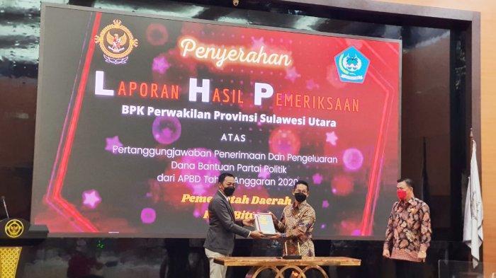 Wakil Wali Kota Bitung Hengky Honandar Serahkan LHP Penggunaan Dana Parpol ke BPK