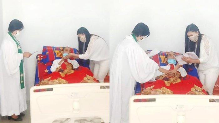Enjels dan Angels saat menikah di rumah sakit
