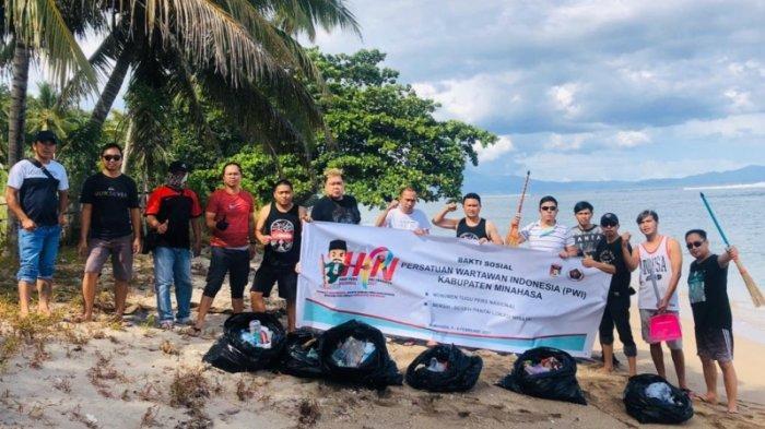 Sambut Hari Pers Nasional, PWI Minahasa Lanjutkan Kegiatan Baksos di Pantai Kanzo