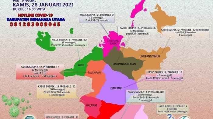 Peta penyebaran Covid-19 di Minut Kamis (28/1/2021).