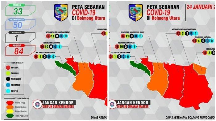 Ketambahan 18 Positif Covid-19, 3 Kecamatan di Bolmut Masuk Zona Merah
