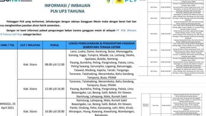 PLN ULP Siau Terbitkan Jadwal Pemadaman Listrik