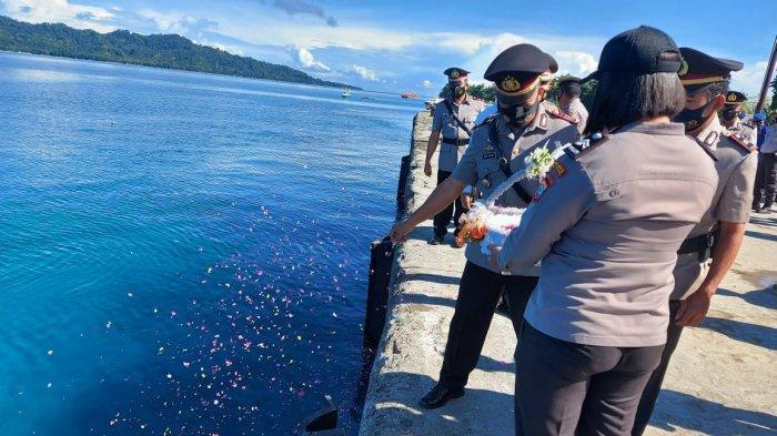 Sambut HUT ke-75 Bhayangkara, Polres Kepulauan Talaud Gelar Upacara Tabur Bunga