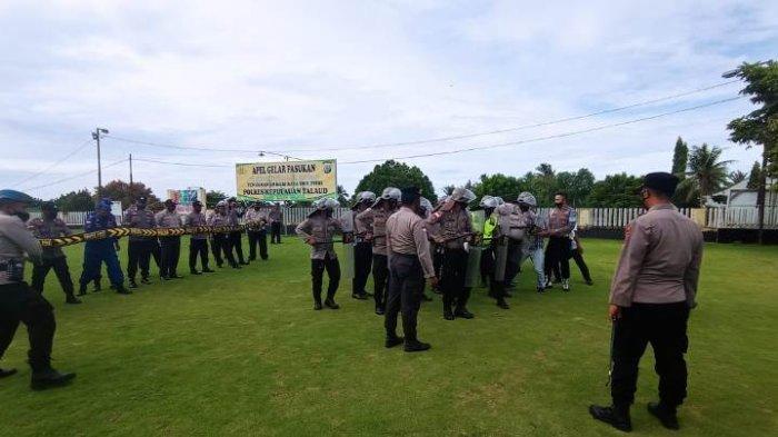 Persiapan Pengamanan Pilkades di 43 Desa, Polres Kepulauan Talaud Gelar Latihan Dalmas