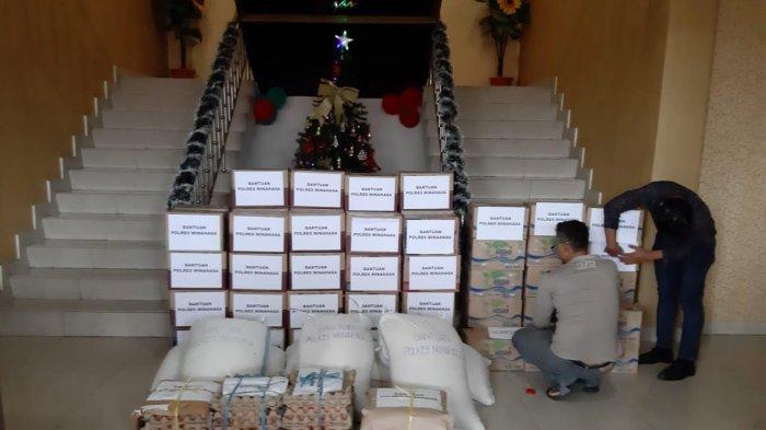 Polres Minahasa Salurkan Bantuan Kepada Korban Banjir dan Tanah Longsor di Sangihe