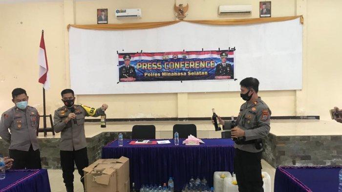 Dua Minggu Operasi Miras, Polres Minsel Amankan 501,9 Liter Cap Tikus