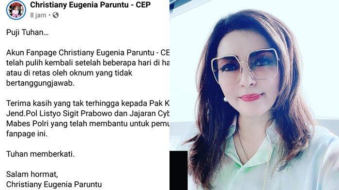 Fanpage Christiany Eugenia Paruntu Sempat Diretas Gambar Tak Senonoh, Sampai Minta Bantuan Kapolri